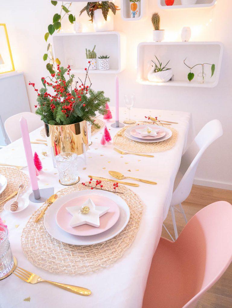 kersttafel styling roze met goud 2018